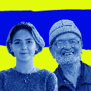 Image shows a young woman and an older man with a bright yellow background