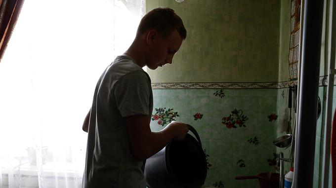 A boy at home in Ukraine
