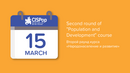 """Calendar graphic with event title: Second round of """"Population and Development"""" course"""