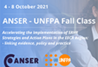 Blue graphic reading ANSER - UNFPA Fall Class with logos