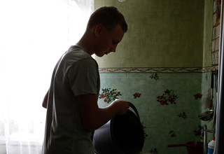 A boy at home in Ukraine