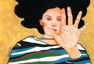 Painting of a woman holding her hand in front of her with a gold background by Hulya Ozdemir