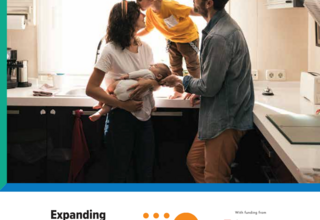 Cover of publication shows title with a mom, dad, toddler and baby