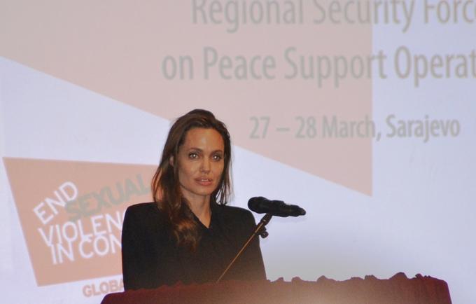 Angelina Jolie at Sarajevo peace conference