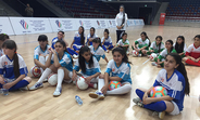 Girls attend a football programme run by UNFPA and the Special Olympics in Azerbaijan