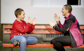 A mother plays with her child who has autism spectrum disorder
